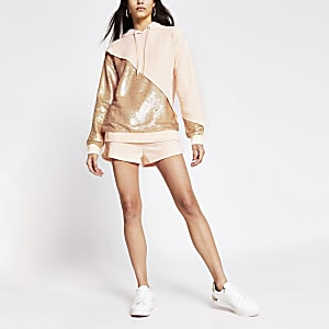 Light pink sequin mix hoodie