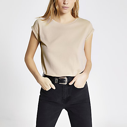 Light pink short turn-up sleeve T-shirt