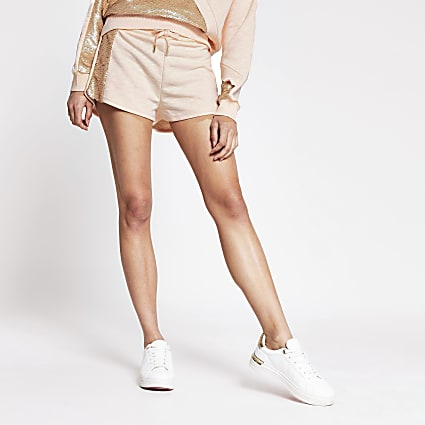 Light pink side sequin paneled runner short