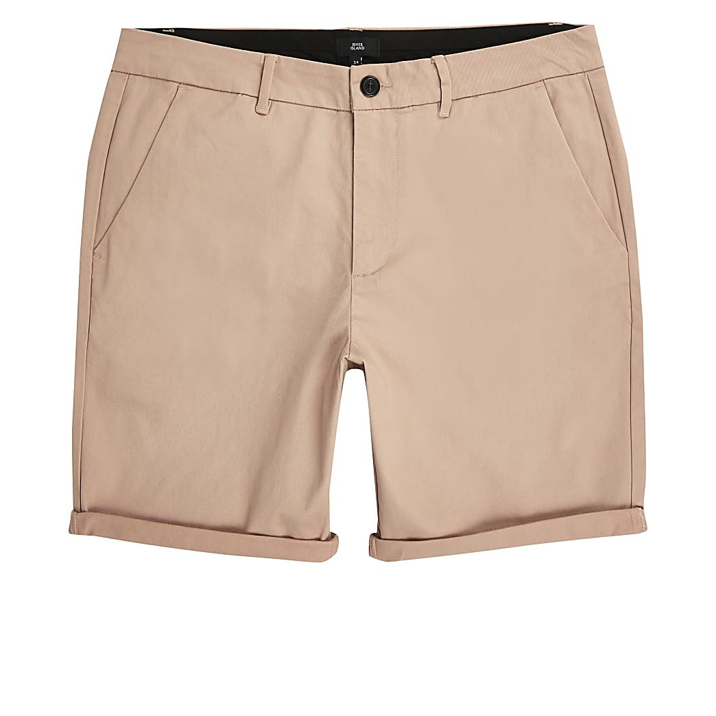 Light pink skinny chino shorts