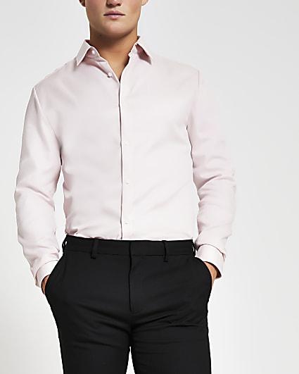 Light pink slim fit long sleeve shirt