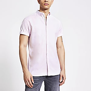Lichtroze slim-fit Oxford overhemd
