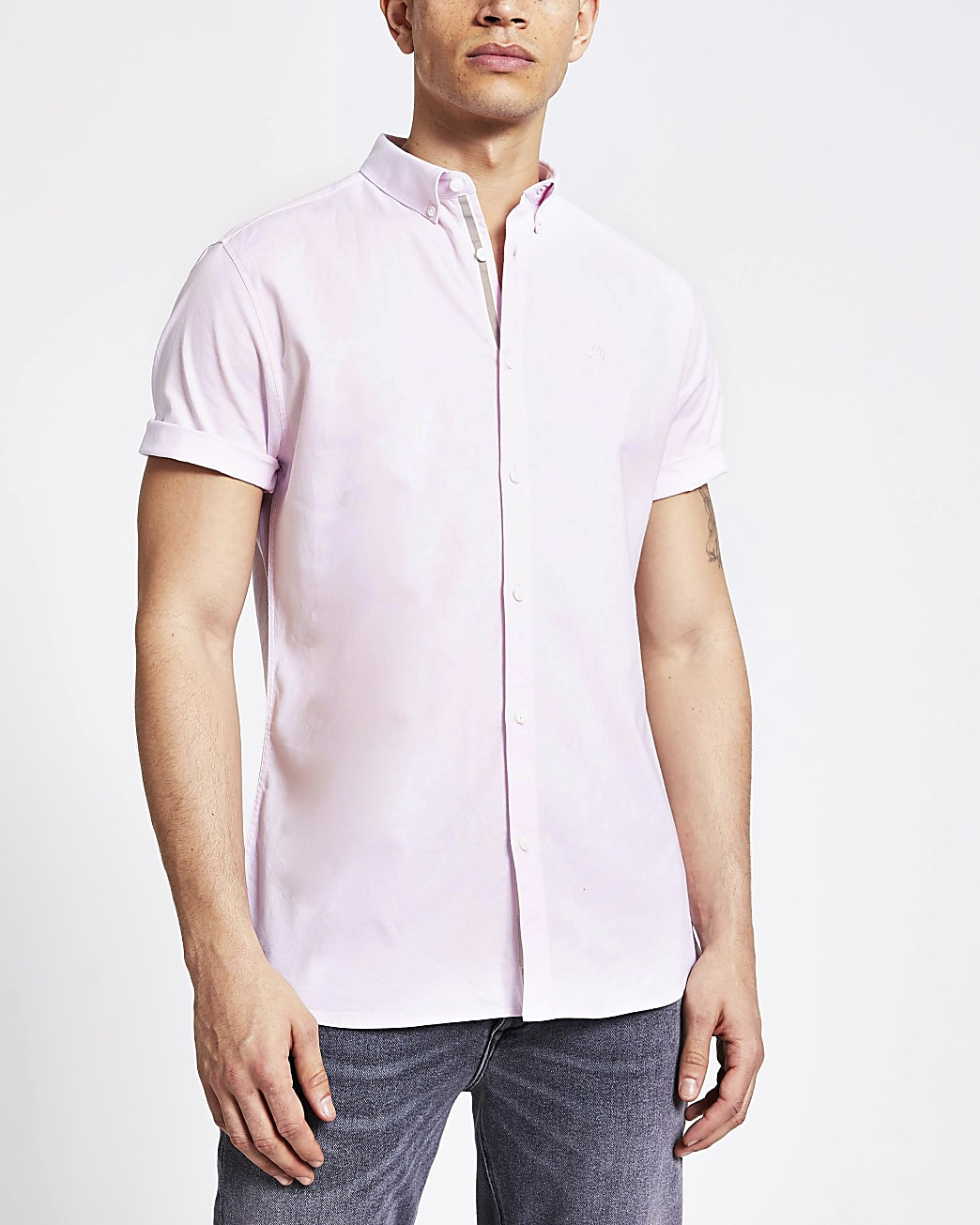 Light pink slim fit short sleeve Oxford shirt