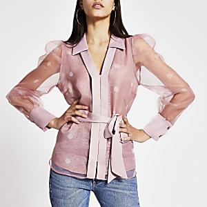 Chemise transparente en organza à pois rose clair