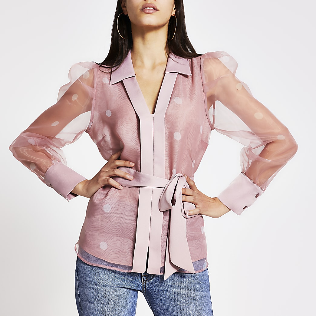 Light pink spot organza sheer shirt