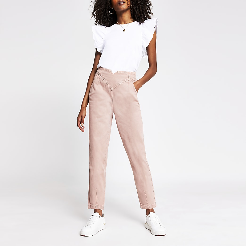 Light pink tapered high rise jeans