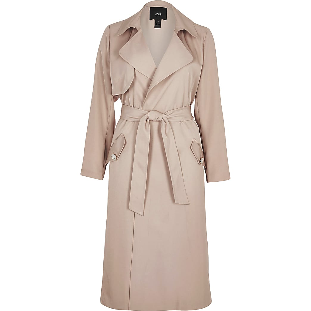 Light pink tie belted duster jacket