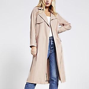 Light pink tie belted duster jacket