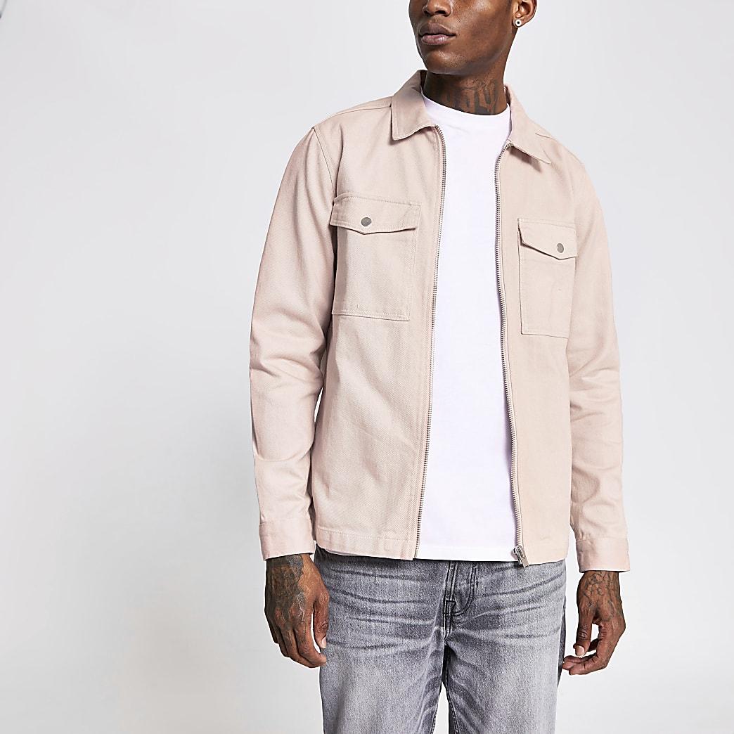 Light pink zip front pocket overshirt jacket