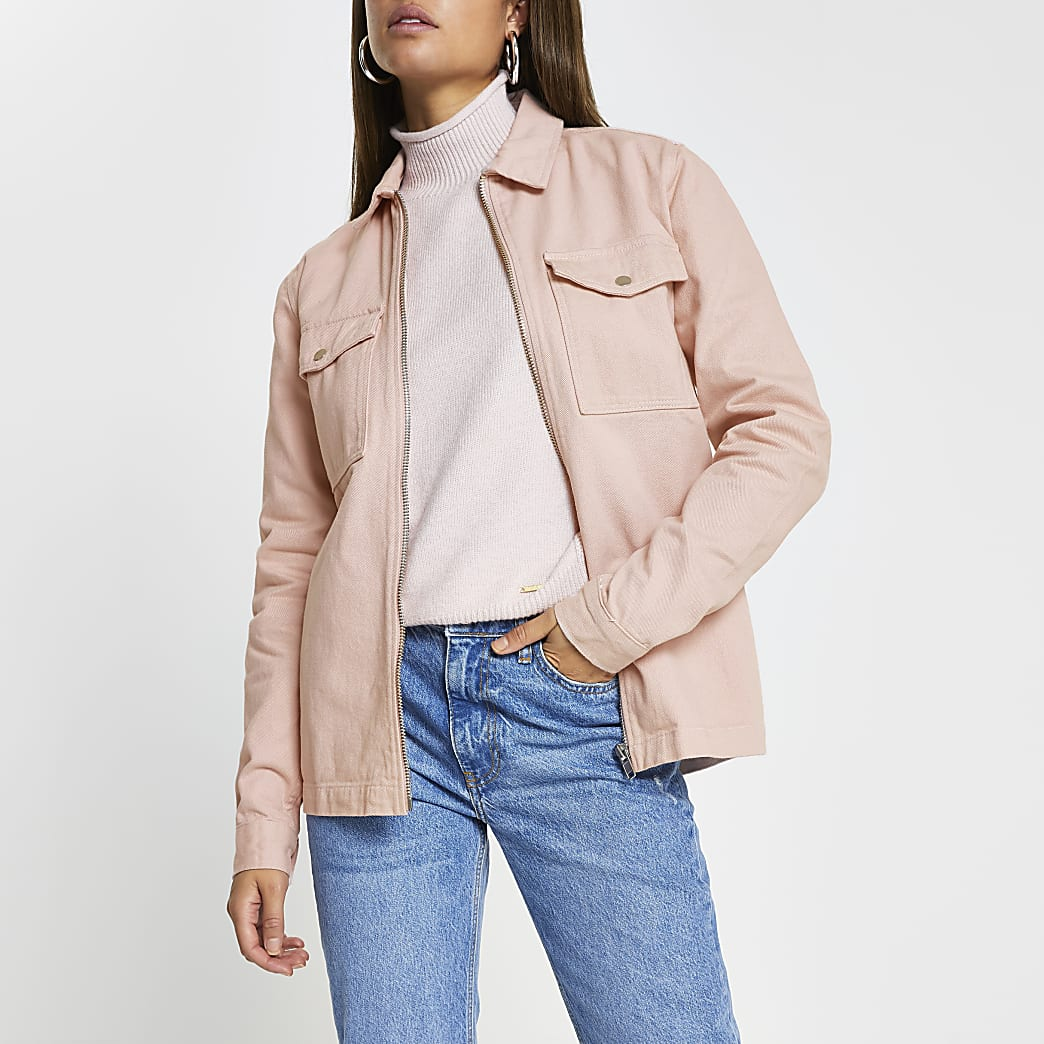 Light pink zip front pocket shacket