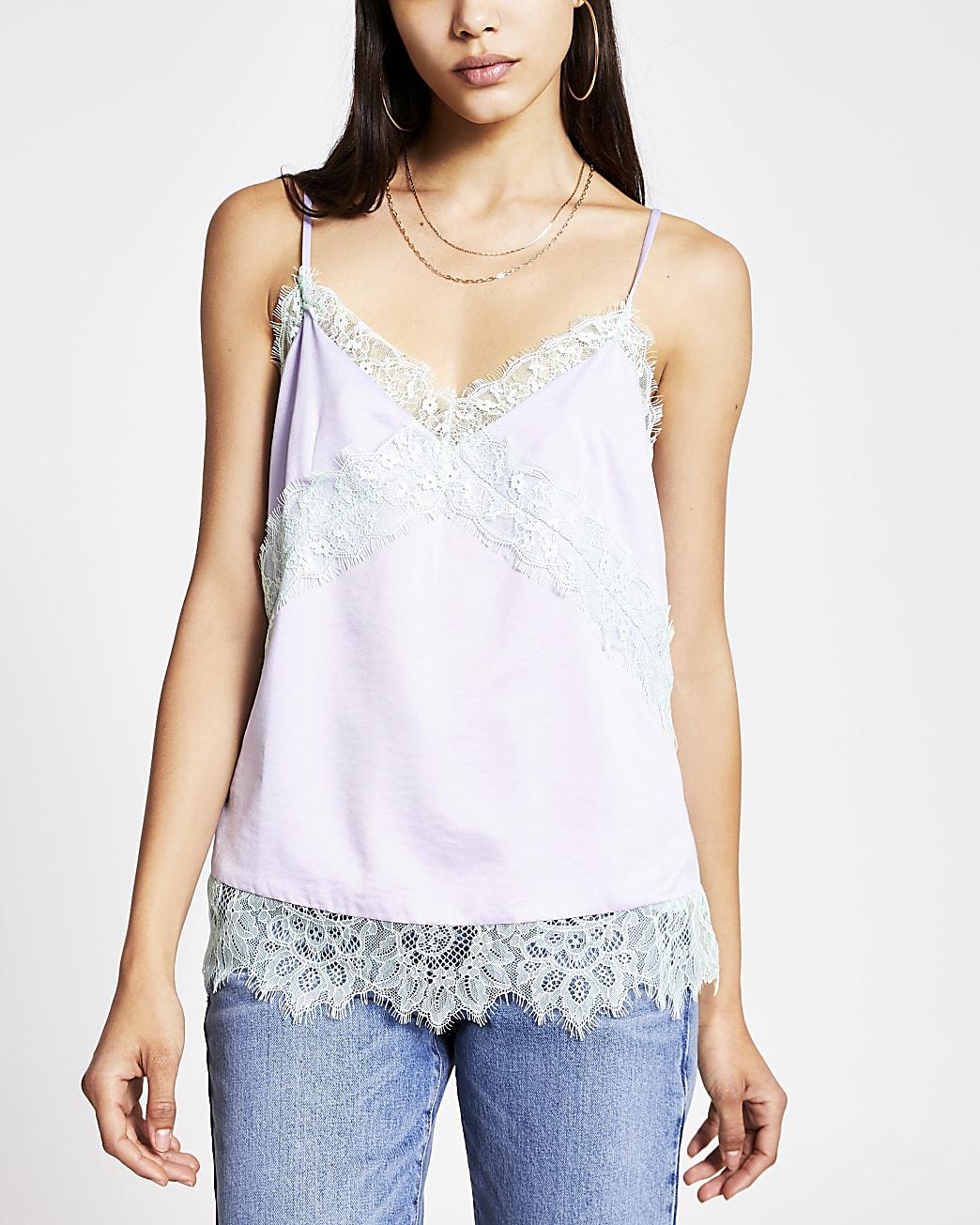 Light purple contrast lace Insert cami