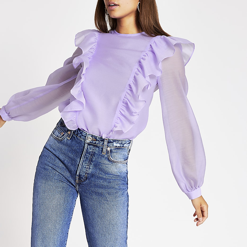 Light purple frill sheer top