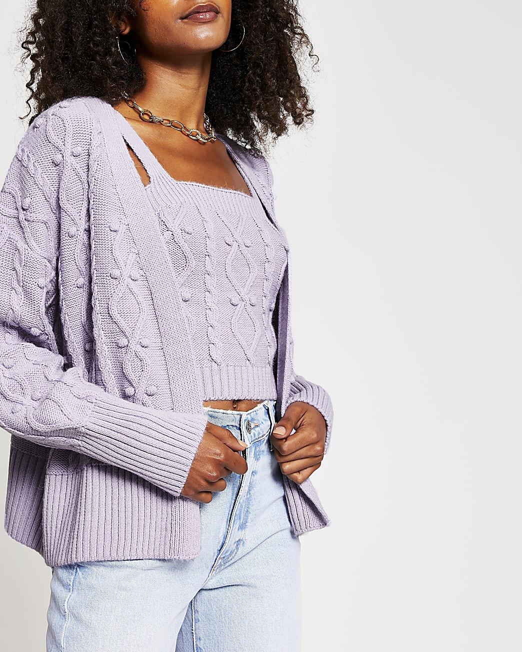 Light purple knit cardigan and bralet set
