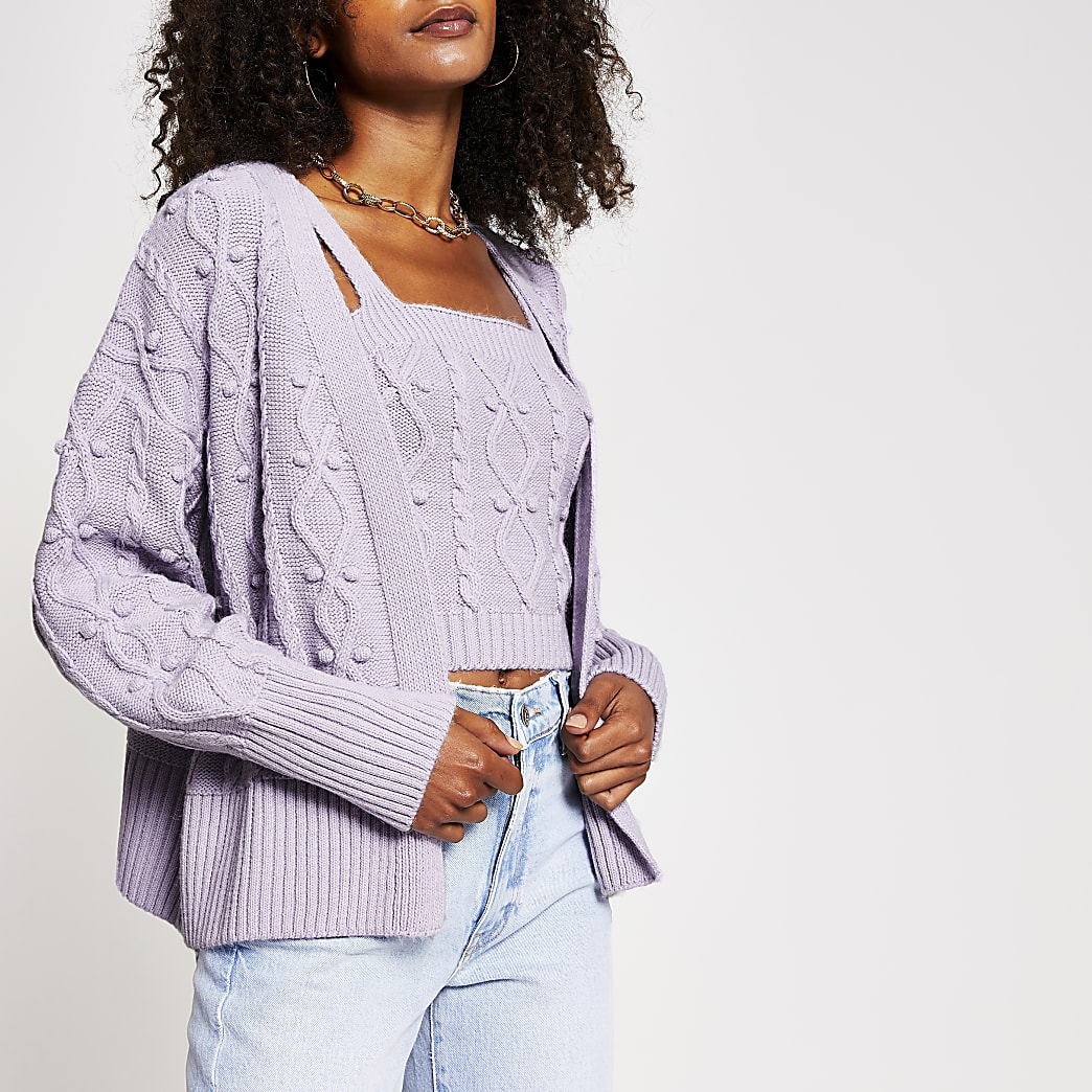 Light purple knit cardigan and bralet set