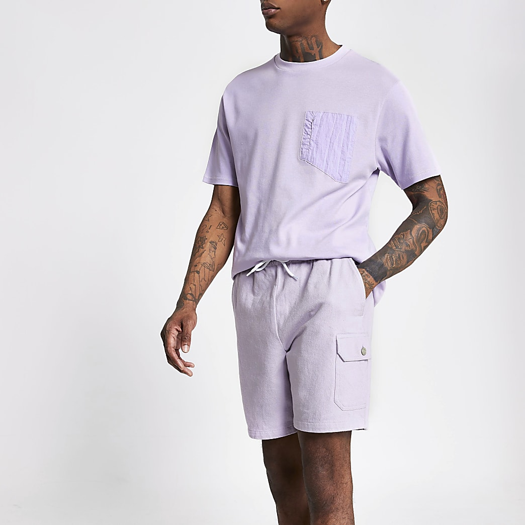 Light purple slim fit shorts