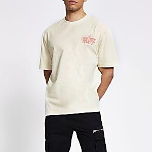 T-shirt ample imprimé japonais grège clair