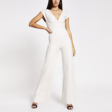 Light stone V neck wide leg jumpsuit
