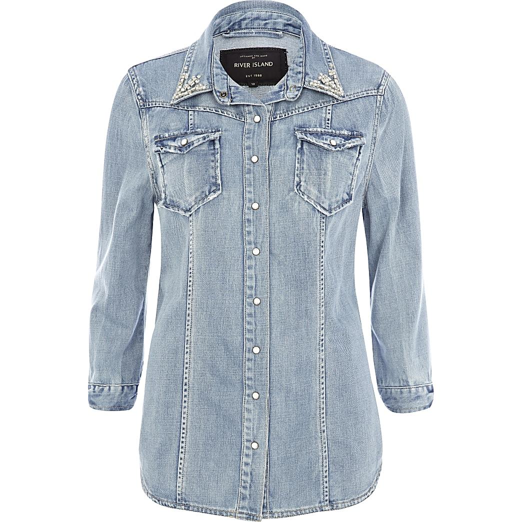 Light wash denim diamante collar outer shirt