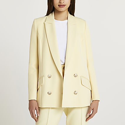 Light yellow double breasted blazer