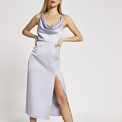 Lilac diamante star cowl neck midi slip dress