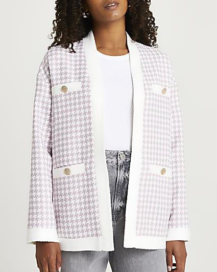 Lilac dogtooth boucle cardigan