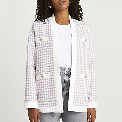 Lilac dogtooth boucle jacket