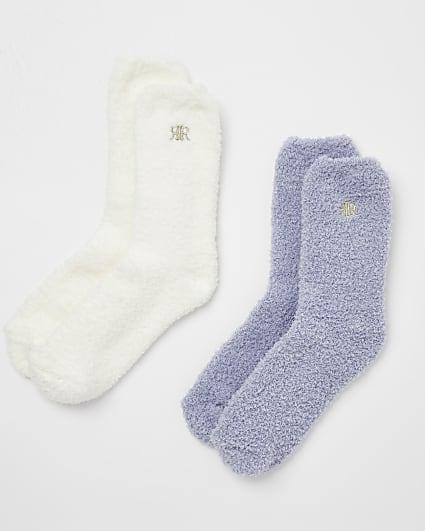 Lilac fluffy socks multipack