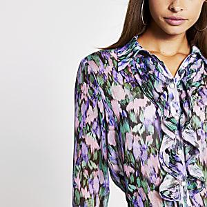 Chemise lilas à volants et manches longues