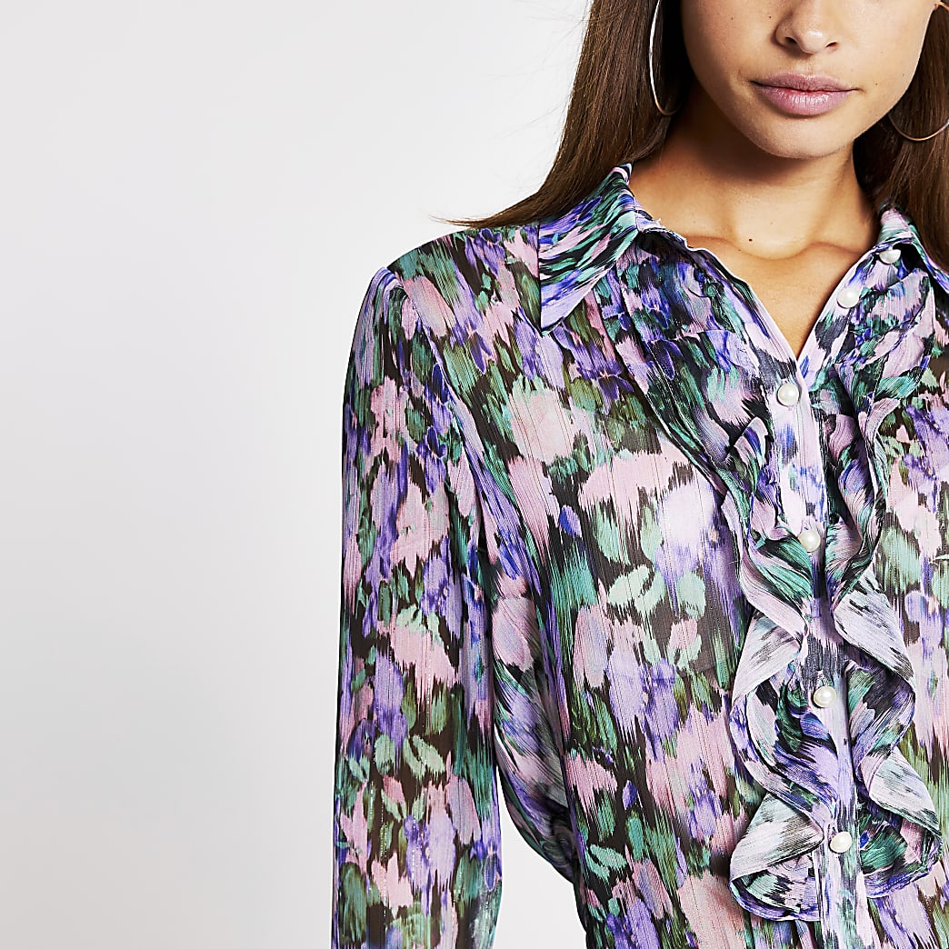 Lilac long sleeve frill shirt