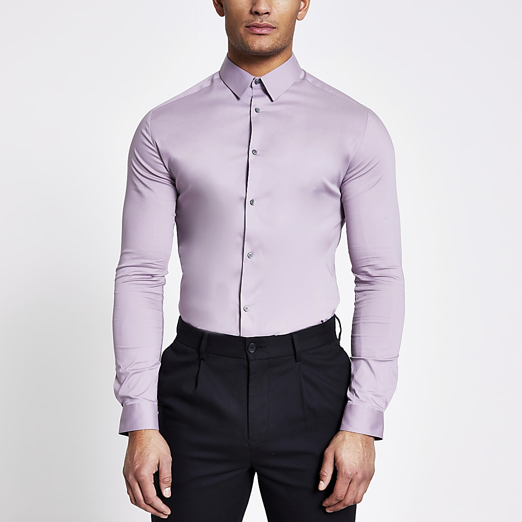 Lilac long sleeve muscle fit shirt