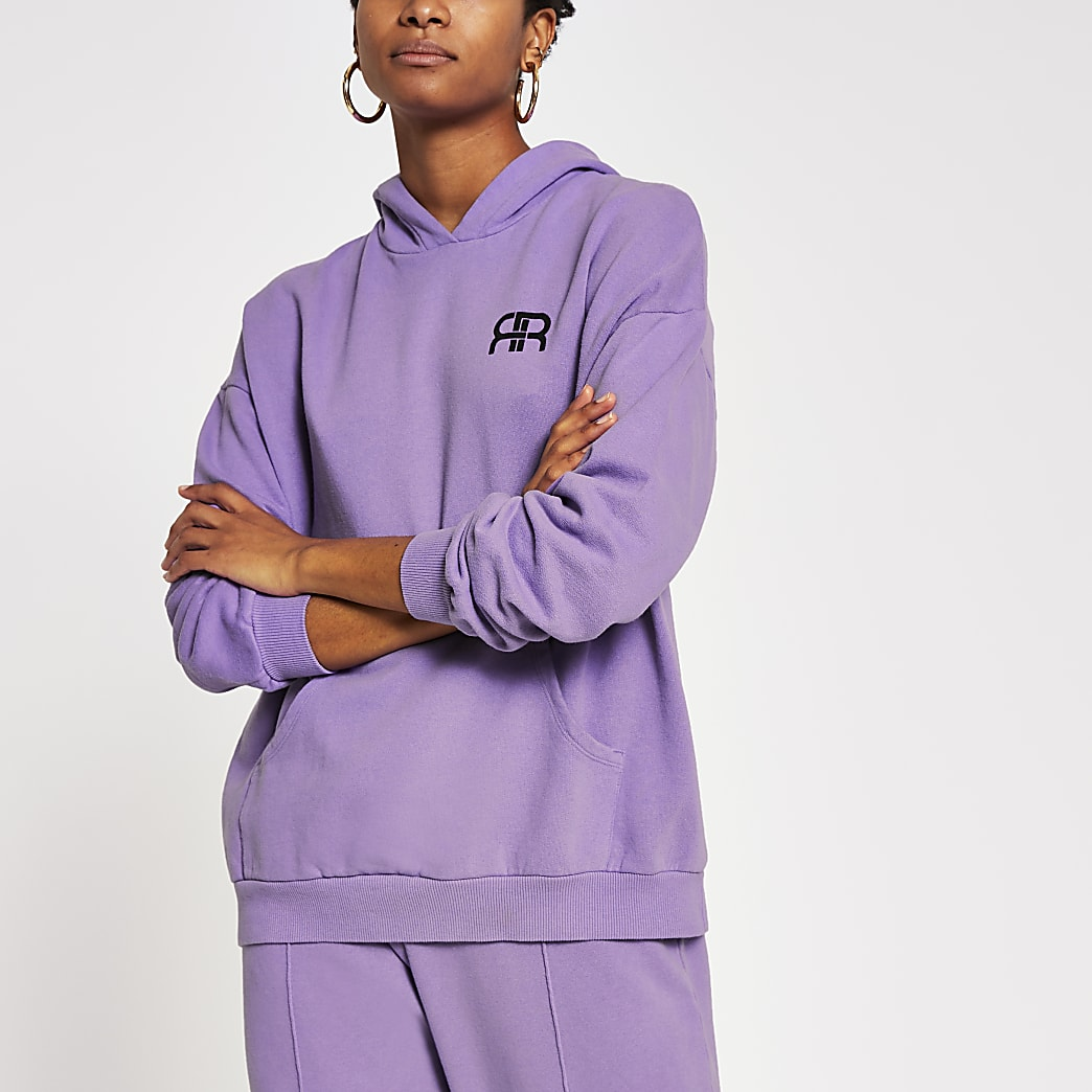 Lilac pocket front oversized hoodie