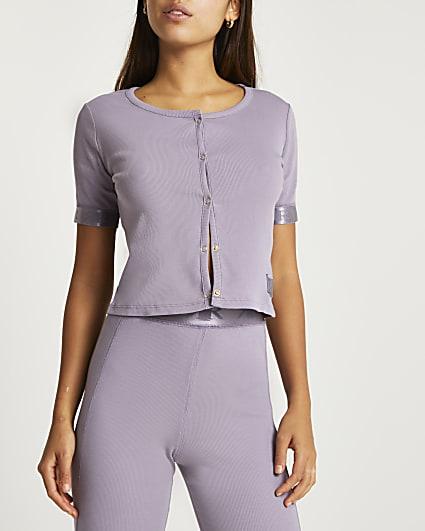 Lilac RI branded cropped cardigan