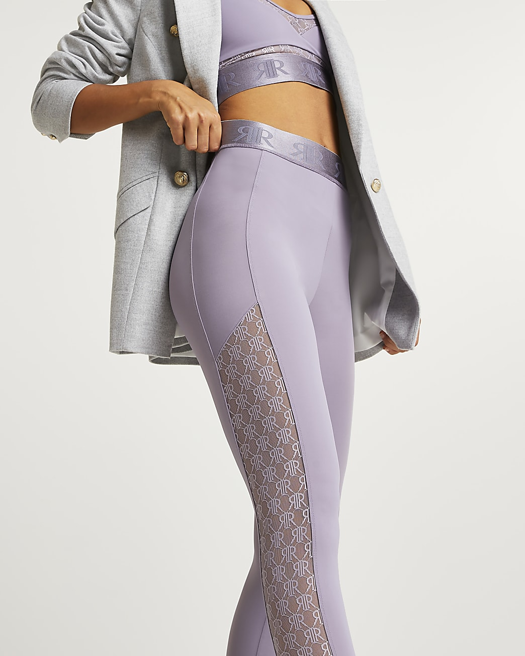 Lilac RI monogram print leggings