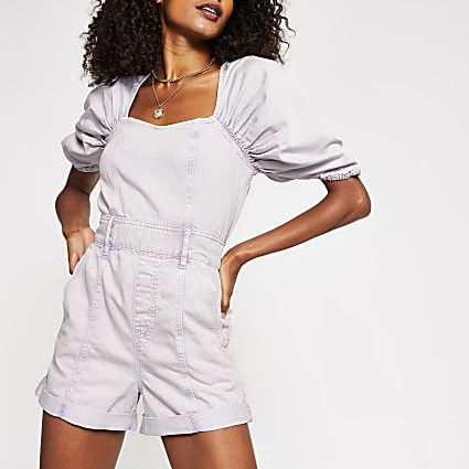 Lilac short puff sleeve denim playsuit
