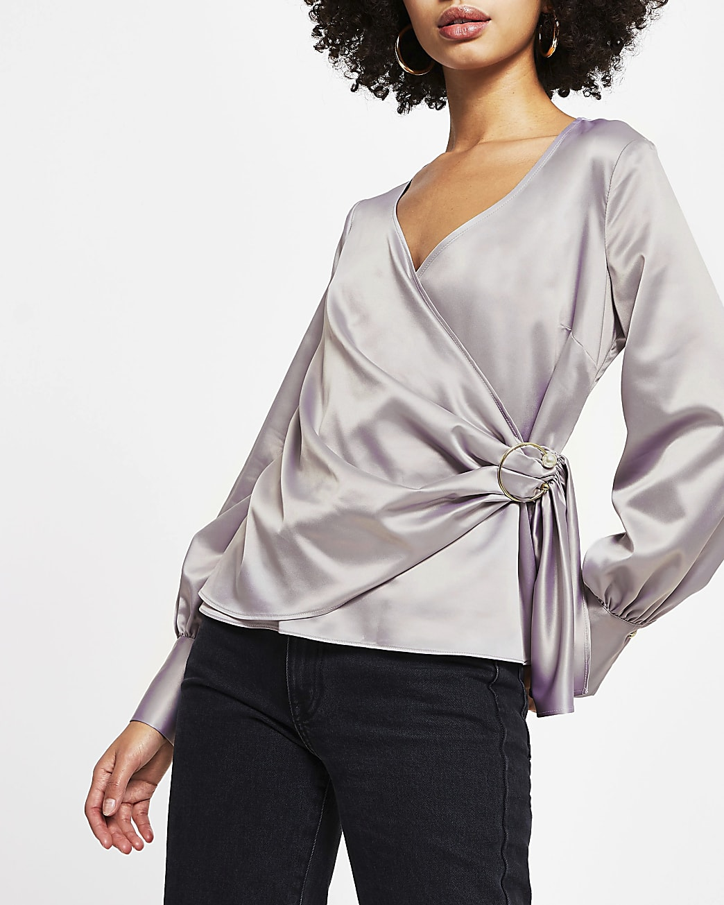 Lilac wrap blouse