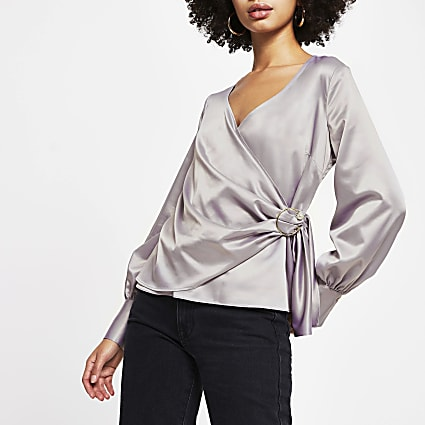 Lilac wrap long sleeve blouse top