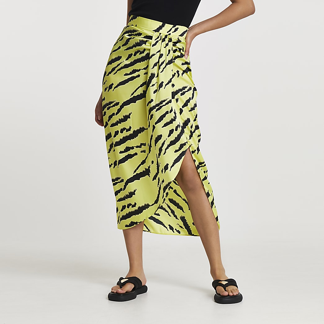 Lime animal print midi skirt