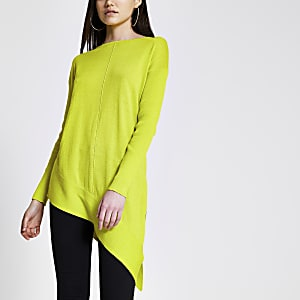 Lime asymmetric long sleeve knitted jumper