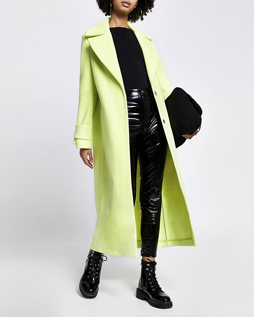 Lime cuff detail longline coat