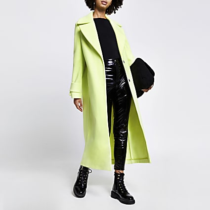 Lime cuff detail longline coat