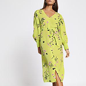 Limoengroene gebloemde midi-jurk met strikceintuur
