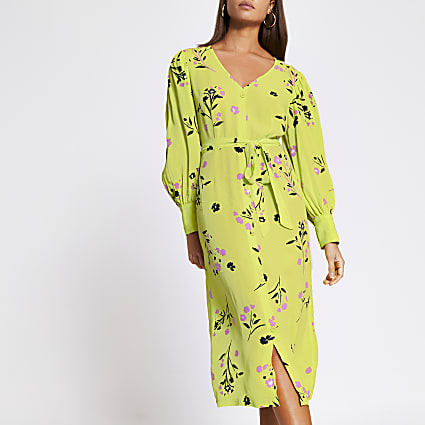 Lime floral tie waist midi dress