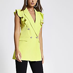 Lime frill sleeveless double breasted blazer