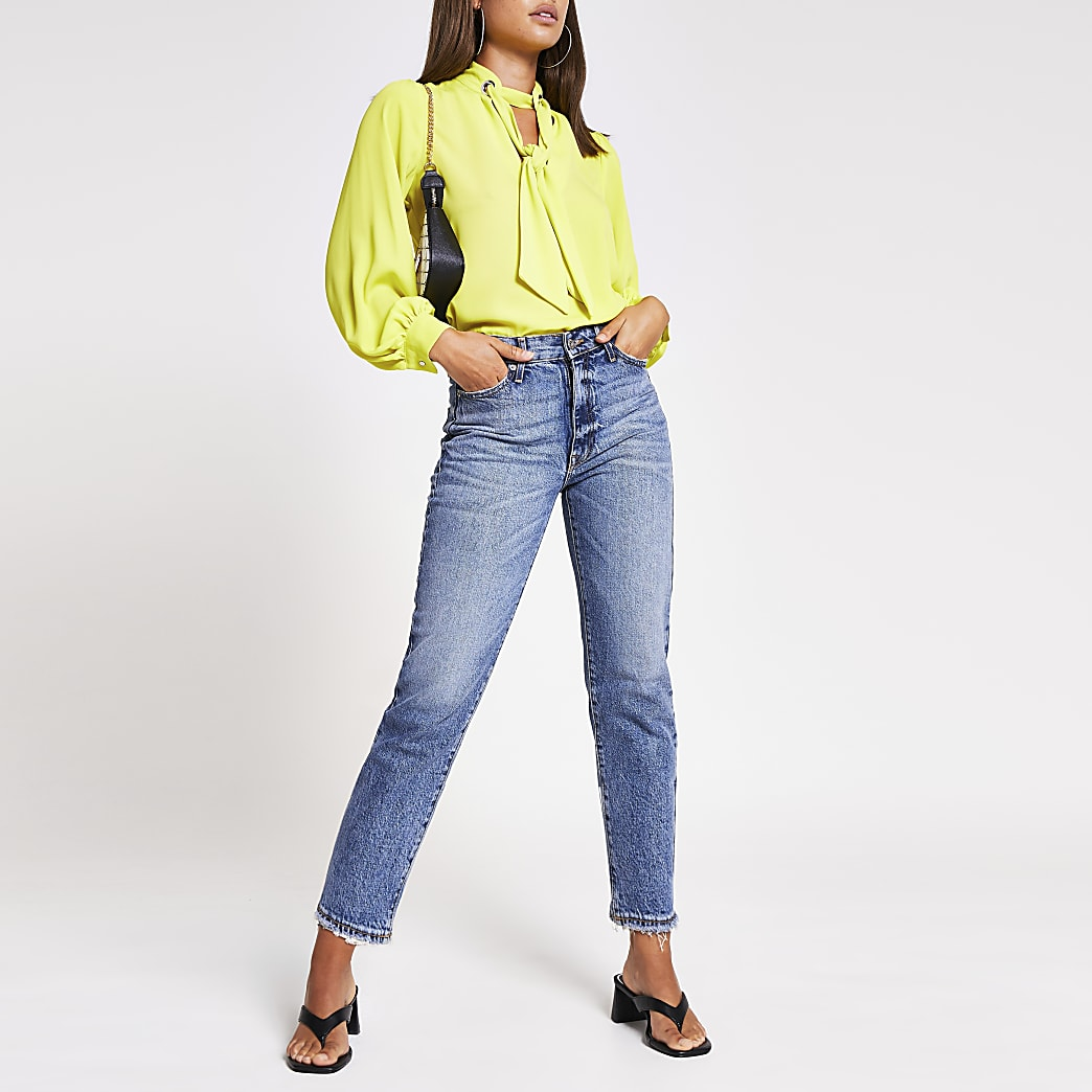 Lime long sleeve tie front eyelet blouse