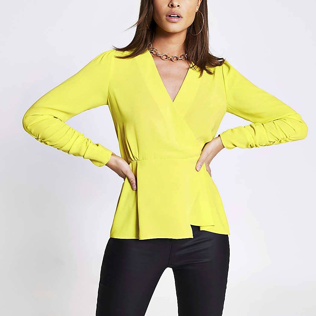 Lime long sleeve wrap top