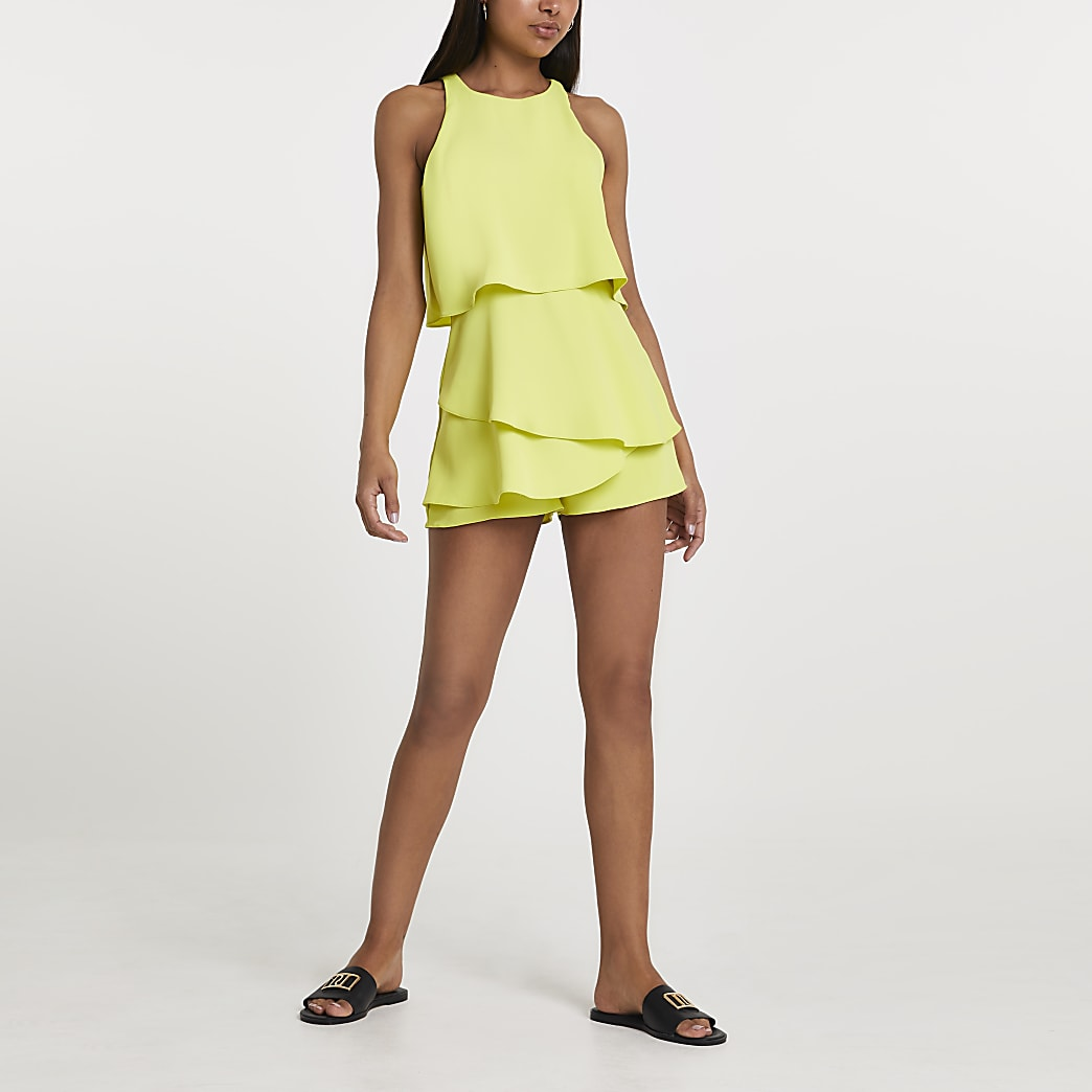 Lime racer neck frill playsuit