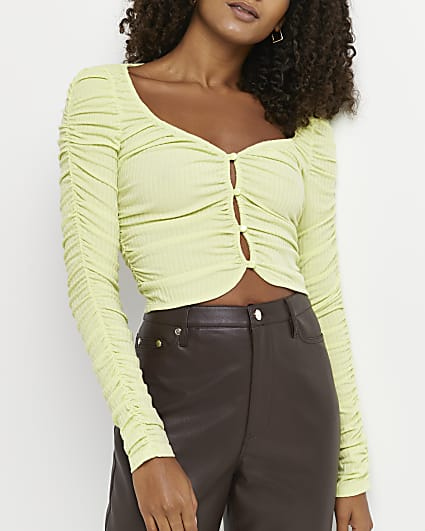Lime ruched cropped cardigan
