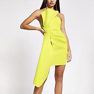 Mini-robe bandeauà volants vert citron