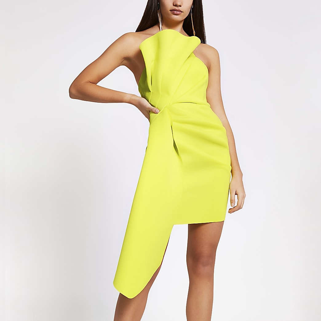Lime ruffle bandeau mini dress
