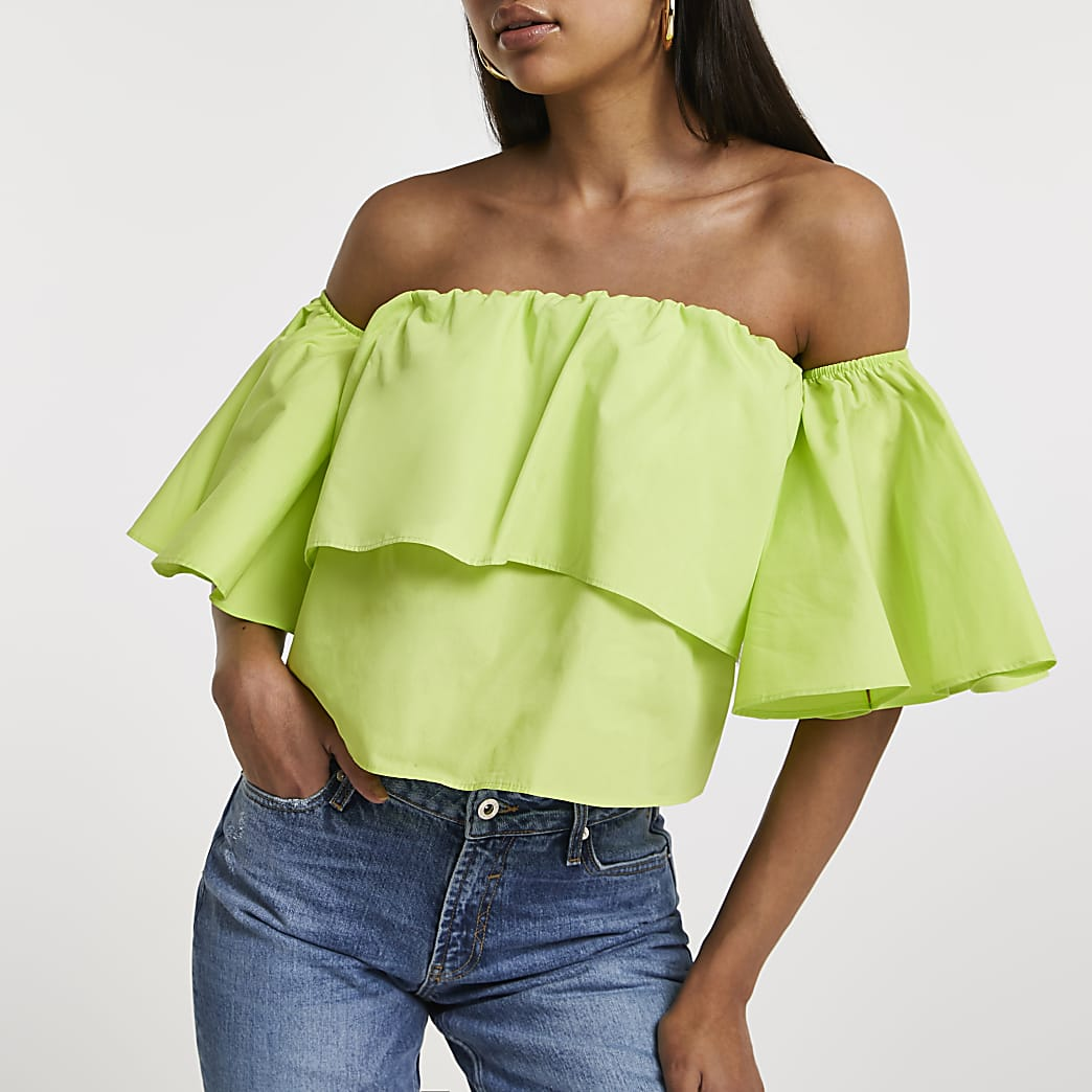 Lime ruffle bardot top